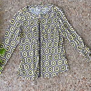 Anne Klein Yellow Zip Geometic Long Sleeve Top